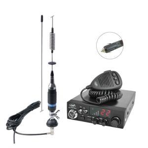 CB PNI ESCORT HP 8024 rádióállomás csomag, 12 V-24 V ASQ + CB PNI S75 antenna kábellel és rögzített rögzítéssel